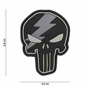 Patch 3D PVC Punisher Éclaire Noir et Gris / Cosplay / Airsoft / Camouflage