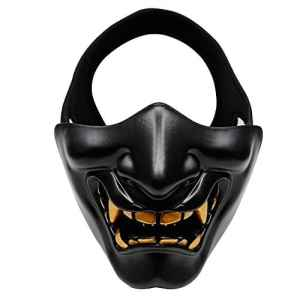 AOLVO Samurai Masque Oni Demon Airsoft Masque Demi Visage Hannya Kabuki Masque Monster Face Evil Prop Masque pour Bal/soirée/Halloween/CS Jeu de Guerre/BB Gun