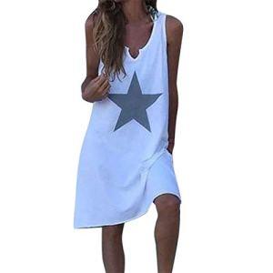 FIRMON Robe d'été décontractée à col en V sans Manches pour Femme – Blanc – X-Large