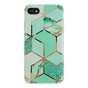 Oihxse Compatible pour iPhone 6 Plus/iPhone 6S Plus Coque Marbre Motif Stitching Crystal Ultra-Mince Protection Housse en Silicone TPU Souple Flexible Bumper Anti Choc Etui Case (Marbre Vert)