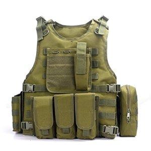 Camo Gilet Tactique, Veste Porte Plaque Ajustable pour Armée, Police, Equipement d'Extérieur ou Veste Cosplay du Jeu Counter Strike