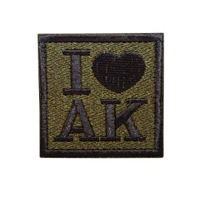 Cobra Tactical Solutions Embroidery Patch I ♥ AK with Hook & Loop for Cosplay/Airsoft / Paintball