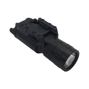 Cyberdax X300 Style Pistolet LED Arme Lumière Lampe de Poche pour Tactique de Chasse Airsoft Picatinny Rail Weaver Monture, Composition de 2-en-1 avec Chargeur et Deux Batteries rechargeable (la norme)