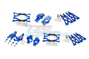 GPM Traxxas X-Maxx 4X4 Upgrade Pièces Aluminium Front & Rear Upper + Lower Arms + Front C Hubs + Front Kncukle Arms Set – 92Pc Set Blue
