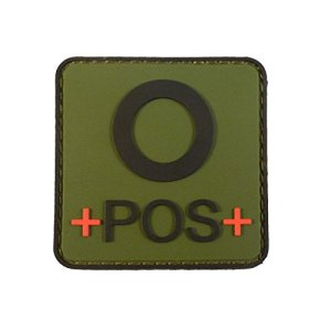 Olive Drab OD Green OPOS O+ Groupe Sanguin Tactical Combat PVC Gomme 3D Fastener Écusson Patch