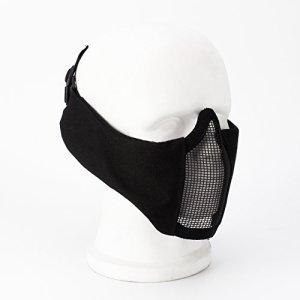 Wwman Demi-masque visage tactique et pliable avec protection des oreilles et maillage en acier + Lunettes avec protection UV et sangle réglable pour airsoft, paintball, Counter Strike, Noir