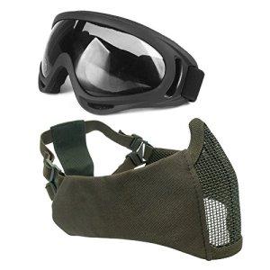Wwman Demi-masque visage tactique et pliable avec protection des oreilles et maillage en acier + Lunettes avec protection UV et sangle réglable pour airsoft, paintball, Counter Strike, OD
