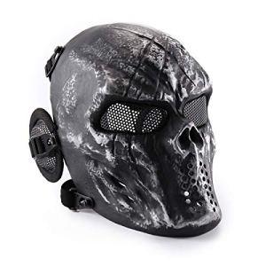 Wwman Masque de protection pour airsoft/paintball en forme de crâne, Silver