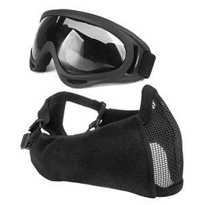 Wwman tactique pliable protection auditive Demi masque visage Maille en acier avec protection UV Lunettes de natation pour airsoft Paintball CS avec sangle de ceinture réglable, BK