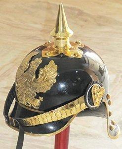 Réplique Nautique Hub WWI&II Casque Prussien Allemand avec Accents en Laiton Noir