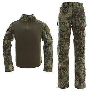 Hommes Tactique Costume Combat Shirt et Pantalon Ensemble Manches Longues Ripstop Multicam Airsoft Vêtements Woodland BDU Chasse uniforme Militaire – Vert – S