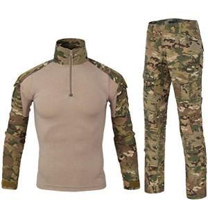 LANBAOSI Chemise de Combat Militaire Homme Uniforme Tactique Séchage Rapide à Manches Longues & Pantalon Costume Tenues de Combat Pantalon Militaire Paintball MC x-Large