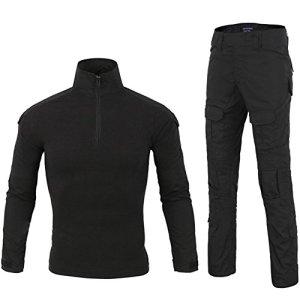 LANBAOSI Chemise de Combat Militaire Homme Uniforme Tactique Séchage Rapide à Manches Longues & Pantalon Costume Tenues de Combat Pantalon Militaire Paintball Noir x-Large
