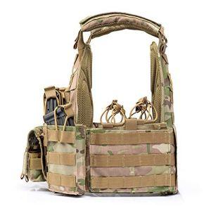 PANZET Porte Plaque, Treillis Militaire, Polyvalent Léger Gilet Tactique Gilet Armée Fan Protection De Terrain en Plein Air Combat Survie Entraînement Nylon Détachable,Camouflage
