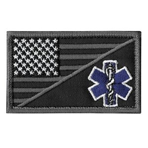 2AFTER1 ACU EMS EMT Star of Life USA Flag Subdued Paramedic Medical Morale Tactical Army Gear Fastener Patch