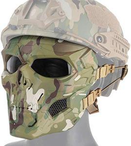 Masques Tactique Airsoft Crâne Face, Protection des Yeux pour Halloween BB Gun Paintball CS Jeu Cosplay Halloween Party Cosplay Masques Zombie Skeleton Effrayant,CP