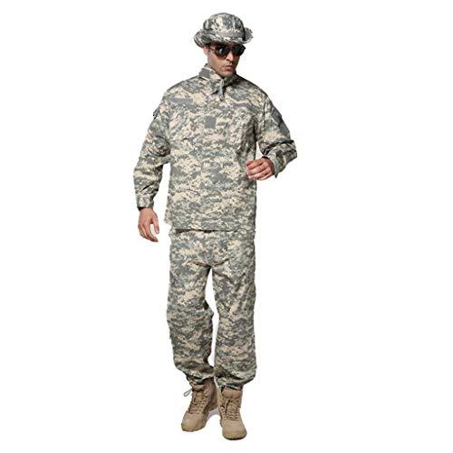 MKJYDM Combinaison de camouflage pour homme en plein air 2 pièces pour la chasse à la jungle, le sport, l'alpinisme, le cyclisme, la veste, le pantalon de camouflage (taille : L/180/80 kg)
