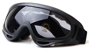 WorldShopping4U tactique UV400 Vent Dust Kite Surf Jet Ski Protection des yeux Lunettes Goggle Airsoft Paintball Chasse (Brown) (Black)