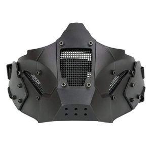 ZCP Tactics Demi-Masque de Protection du Visage Masque en métal Mesh Style Militaire Utilisation Confortable avec Casque Rapide pour Pistolet à air/Chasse/Paintball Tir,Noir