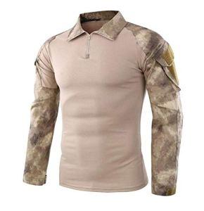 HUAJIANGHU T-Shirt Armée Tactique Militaire Uniforme de Camouflage Airsoft au Combat éprouvée Chemises Rapid Assault Chemise à Manches Longues Bataille Tactical Strike Shirts Outdoor