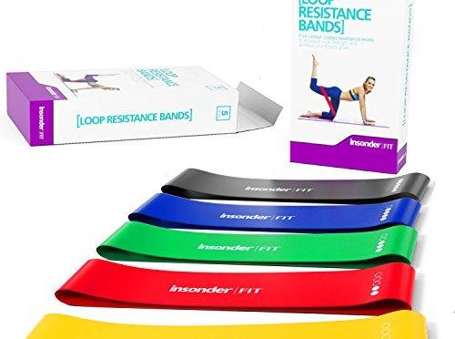 Bande Elastique Fitness – Bande de Resistance Set (5) – Équipement d'Exercices pour Musculation Pilates Squat Sport Crossfit Rééducation Physique et Motrice – Entrainement Corps, Jambes, Fessiers