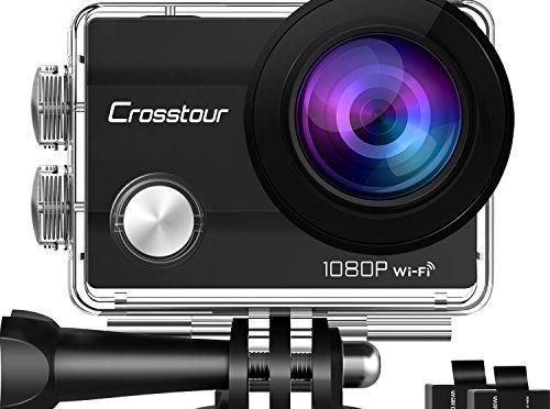 Crosstour Caméra Sport 1080p Full HD Wi-Fi Étanche 30M 12MP 170 °Grand-angle 2 pouces LCD avec 2 Batteries Rechargeables 1050mAh et 18 Accessoires