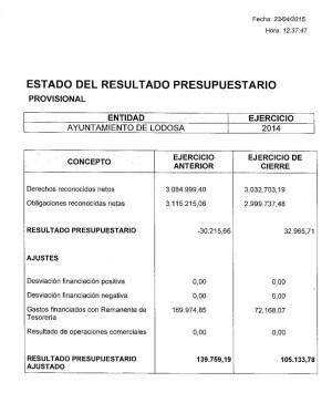 Primera página del informe de la intervención municipal relativo a las cuentas de 2014 [clic para ver PDF]
