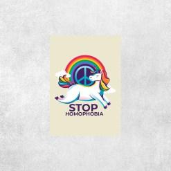 Placa Decorativa STOP HOMOPHOBIA - UNICÓRNIO - Loja Nerd