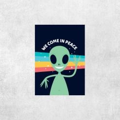 Placa decorativa Alien We Come In PEace - Loja Nerd