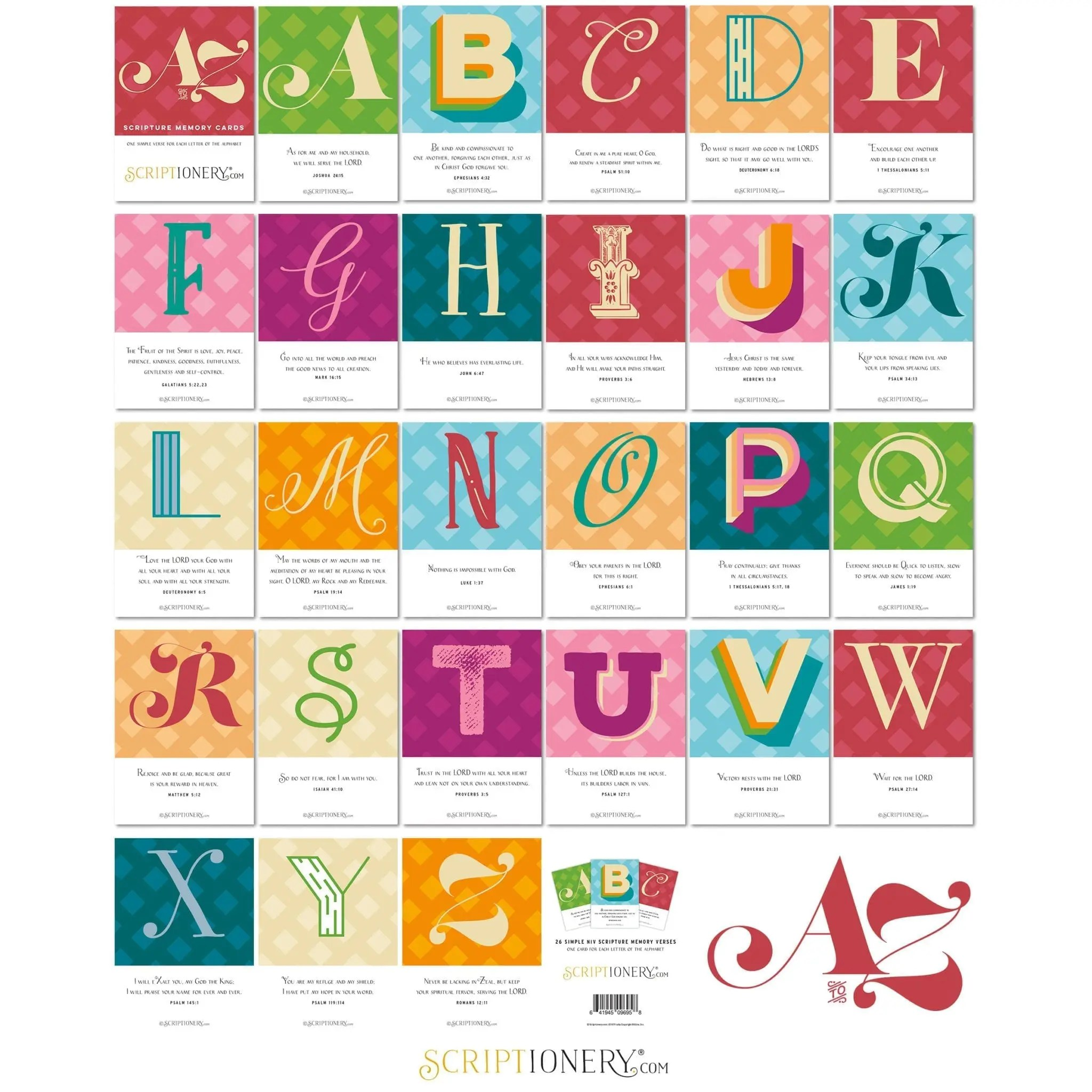 Scriptionery A to Z ABC Scripture Cards Grid View