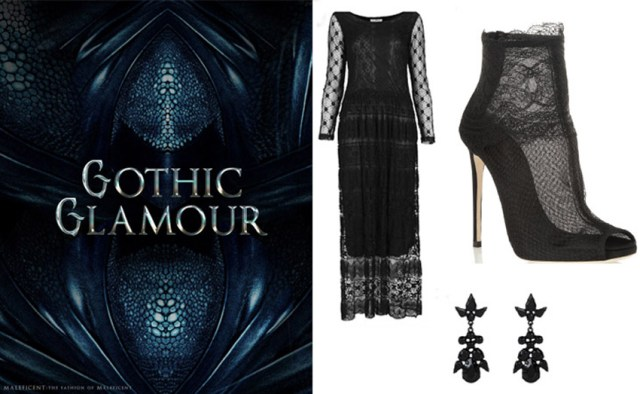 Willow Lace Dress by Navy, Topshop (68 £), Lace-trimmed net ankle boots, Dolce&Gabbana (555 £), Black Stone Chandelier Earrings, New Look (4,99 £)