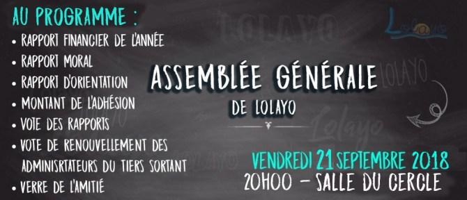 Assemblée Générale de Lolayo - 21 septembre 2018