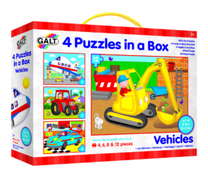 vehicles 4 puzzles in a box