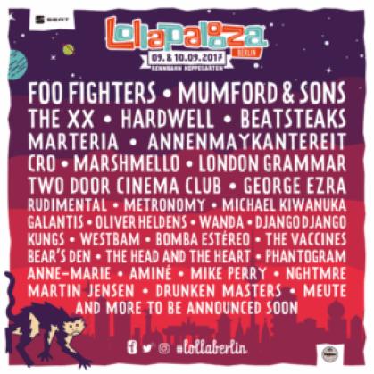 Lollapalooza berlin 2017 lineup