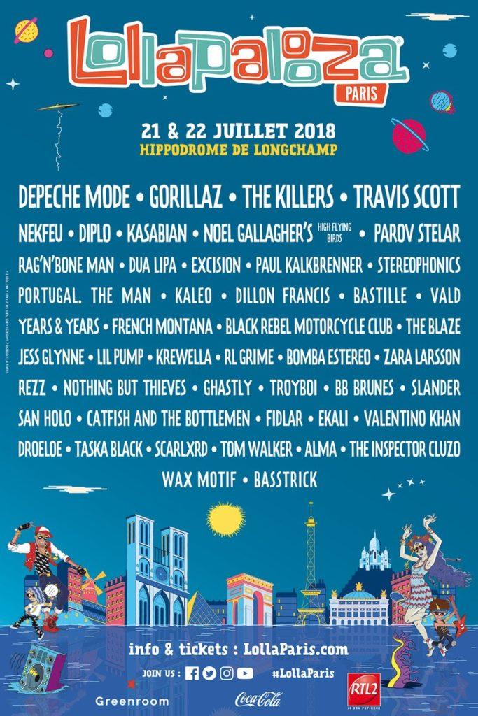 Lineup Lollapalooza Paris 2018