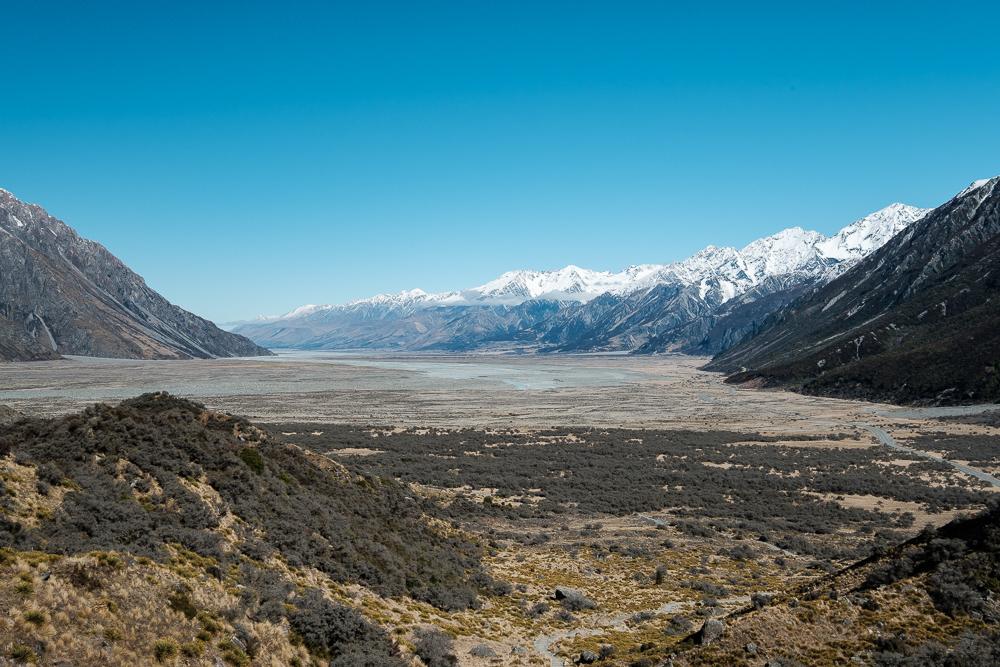 Vue sur la vallée depuis le Lac Tasman