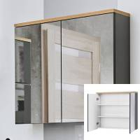Spiegelschrank 80 cm SOLNA 56, grau mit Wotaneiche, B x H ...