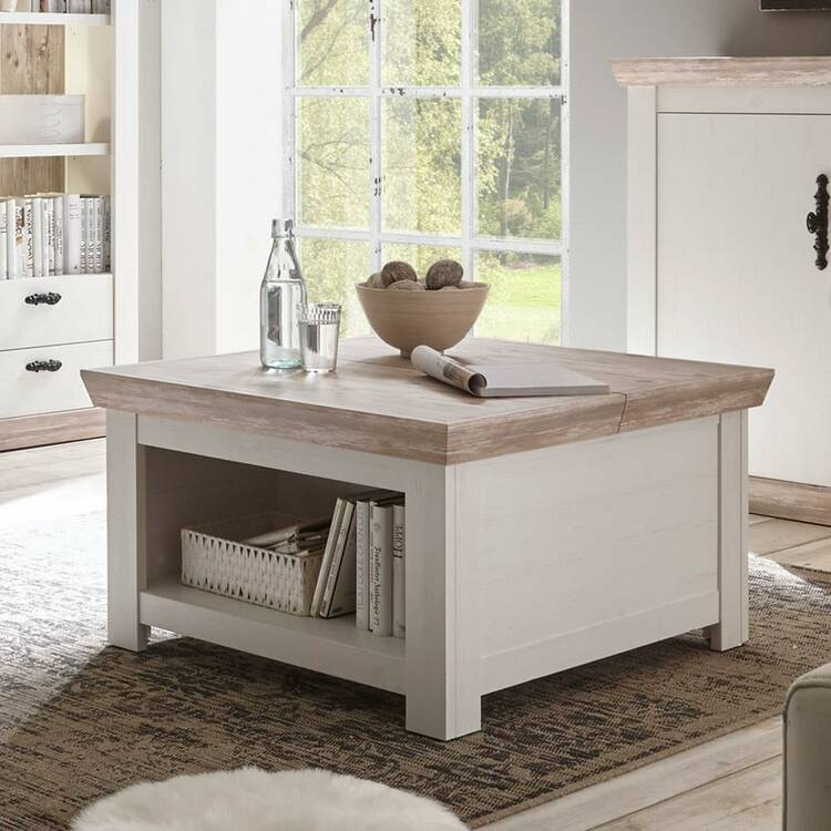 coffee table ferna 61 in country house style pine white and oslo pine