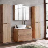 Badmöbel Set mit Keramik Aufsatzwaschbecken TOSKANA 56 Wotaneiche/Hoch