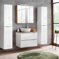 Badmöbel Set mit Keramik Aufsatzwaschbecken TOSKANA 56 Hochglanz weiß