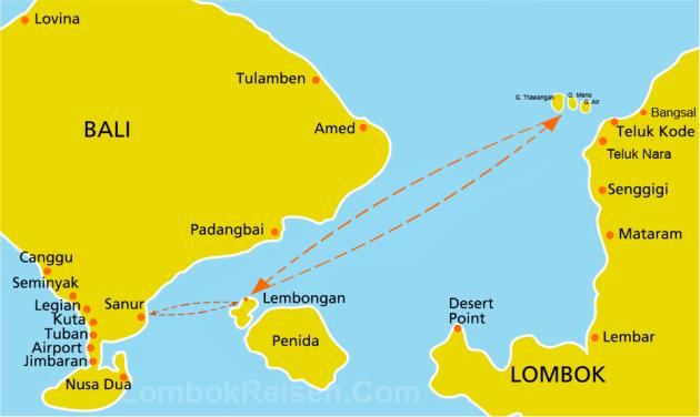 Bali Brio Cruise Route Map Bali to Nusa Lembongan
