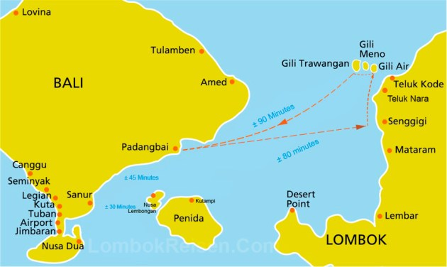 Bali to Lombok and Gili Island Route Map