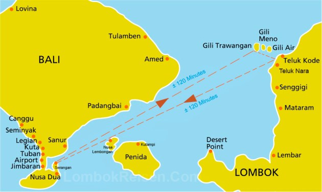 Gili Getaway Fast Boat Route Map