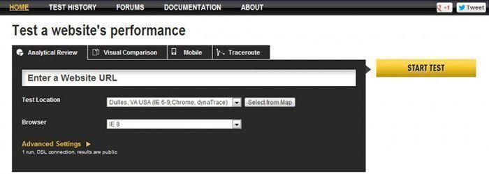 Análisis de velocidad de carga de página web con WebPageTest
