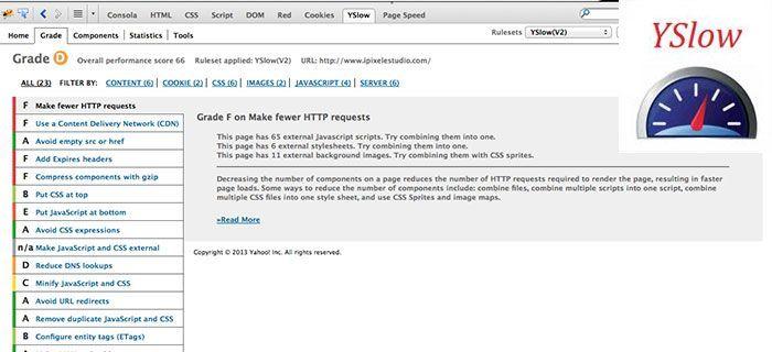 Análisis de velocidad de carga de página web con Yahoo YSlow