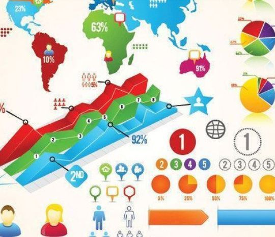 Colorful Vector Infographic Chart Buttons Labels - Plantillas para infografías gratuitas