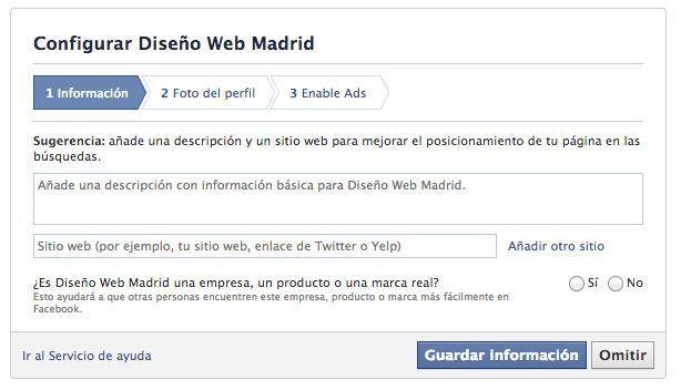 Abrir página de empresa en Facebook - Descripción