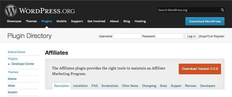 Plugins de WordPress para programas de afiliación - Affiliates