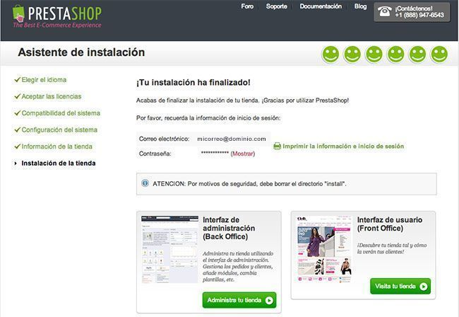 Crear una tienda online con PrestaShop - Instalación finalizada