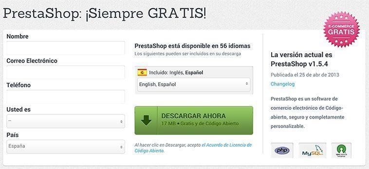 Crear una tienda online con PrestaShop - Formulario de descarga